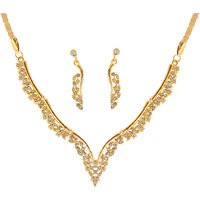 Touchstone Golden Alloy Gold Plated Necklace Set For Women