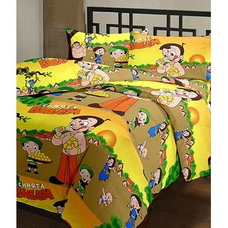 designer cotton double bed sheet with 2 pillow covers - chhota bheem