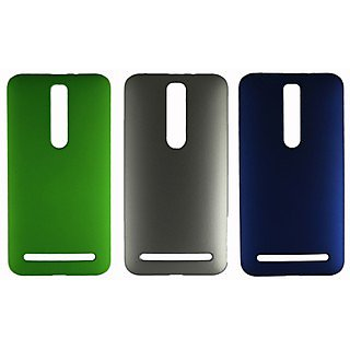 Fcs Rubberised Hard Back Case For Asus Zenfone 2 In Matte Finish-Combo Of 3 Fcs-C-Hb-Zenfone-2-Gr-Sl-Bl