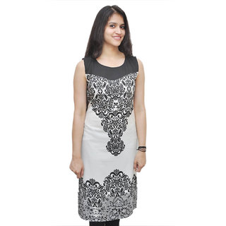 Hardi Black Polyester Digital Printed Kurti