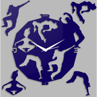 Creative Width Dancing Souls Blue Wall Clock