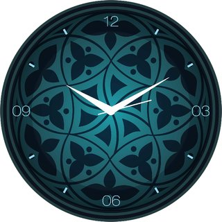 Creative Width Classic Blue Print Wall Clock