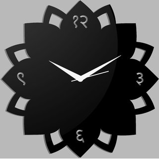 Creative Width Ethnic Petals Style 1 Black Wall Clock