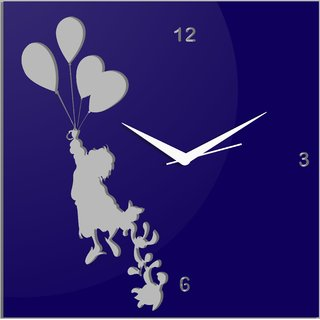Creative Width Flying With Ballons Blue Wall Clock