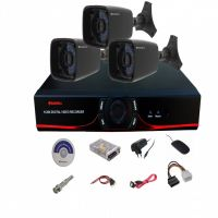 SET OF 3 PC 850 TVL 30 MTR NIGHT VISION CCTV CAMERA + 4 CH DVR + REQ. CONNECTORS