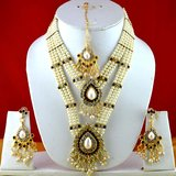 Moti Cz Pearl Stone Polki Kundun Necklace With Earing And Mang Tikka