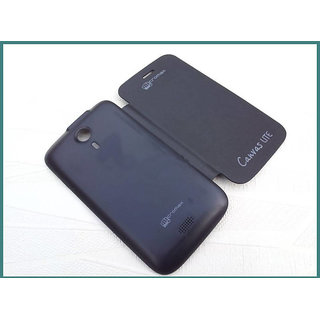 Flip cover for Micromax Canvas Lite A92 ( Nice quality product ) - Black