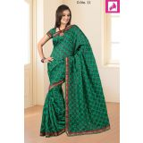 Bhagalpuri Silk green border work saree