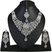 Touchstone Sparkling Silver Austrian Diamonds Necklace Set With Maang Tika (PWNSL114-01A--W)