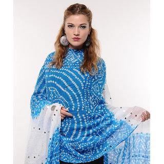 Mirror Work Cotton Bandhej Dupatta (Blue)