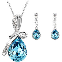 CYAN bow style crystal jewelry set with earrings