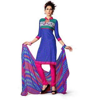 Rudra Fashion Salwar Suit Dupatta Material Blue Crepe & Chiffon (Unstitched)