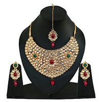 Touchstone Traditional Necklace Set with Maang Tika (DGNSK025-01KREY)