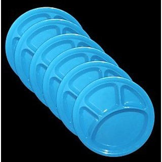 Set Of 100 Pcs Trendy Round Section Plate- Blue Colour