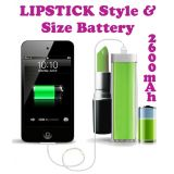 Lipstick Design 2600 MaH Portable Power Bank External Battery Charger Green for Samsung, Apple iPhone, Blackberry, Sony, Samsung, HTC, Nokia, Micromax, LG, Karbonn, Intex, Lava, Philips & other USB Powered Phone's or Devices