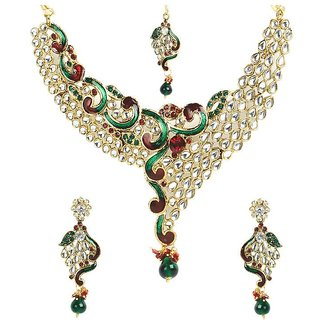 Shining Diva Kundan Necklace Set With Maang-Tika