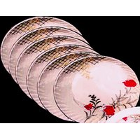 Set Of 24 Pcs Trendy White Melamine Half/ Quarter Dinner Plates - Design 25