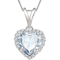 Silver Dew 925 Sterling Silver Valentine Heart White Cz Diamond Pendant