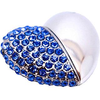 Microware Blue Metal Heart Shape 16 Gb Pen Drive
