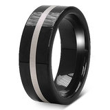18.60 Grams 8mm Two Tone Black Plated Tungsten Carbide Mens Wedding Ring Band Osr072tt11