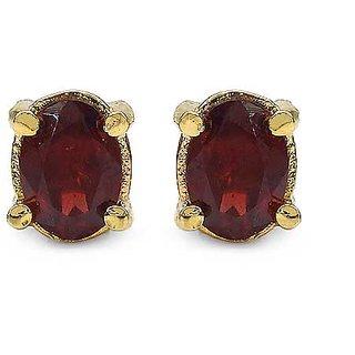 1.82CTW 7x5mm Oval Shape Genuine Garnet Gold Plated Brass Earrings (KJET105G_BR)