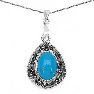5.20 Grams Turquoise Onyx & Marcasite Pendant (NCP057)