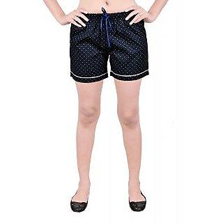 Abony Dark Blue Cotton Printed Shorts