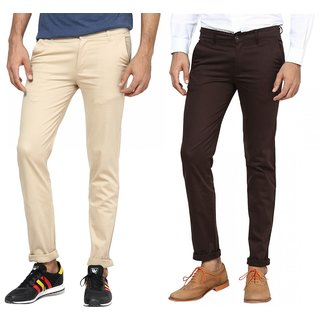 Inspire Combo Of Beige & Brown Slim Casual Chinos