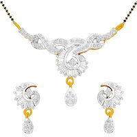 Spargz Traditional Cz Diamond Golden Mangalsutra Earring Set (Design1)
