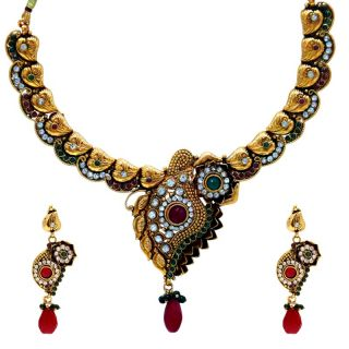 Spargz  Traditional Necklace Set Studded Diamonds And Created Stones