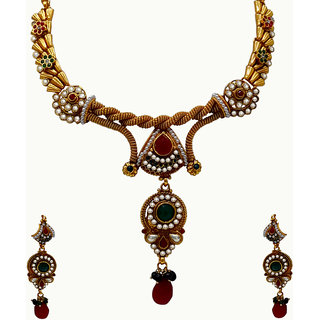 Spargz  Spectacular Traditional Necklace Set In Yellow Plating (Design1)