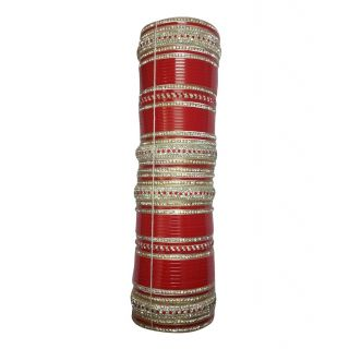 Bhagwati's Suhag (bsc) Red American Diamond Beautiful Chura