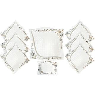 Brightline white stonework Ceramic Snack set, 8-Piece
