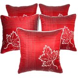Leaf Embroidery Cushion Cover Red 5 Pcs Set
