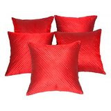 Quilting Cushion Cover Red 5 Pc Set