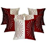 Star Embroidery Cushion Cover Red/cream 5 Pcs Set