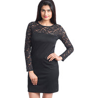 Paradise Black Net Stylish Shift Dress