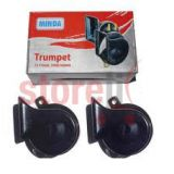 Minda Dual Tone Black Trumpet Horn 12v Skoda Type High And Low For Bikes And Cars