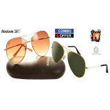 Combo Of Reebok A3 Aviator Brown  Mtv Green Golden Frame Sunglass