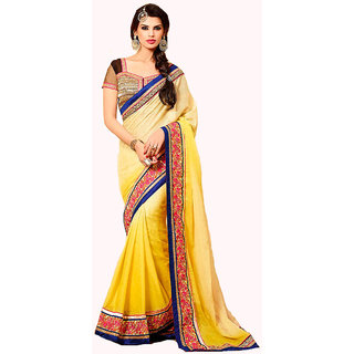 MagnificentYellow Georgette Embroidered Saree