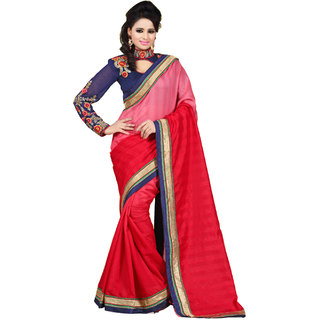 Graceful Red Chiffon Lace Saree