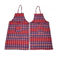 Welhouse india Red and Purple Checked  Apron (BUY 1 GET 1 FREE)