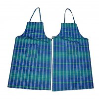 Welhouse india Blue and Green Checked  Apron (BUY 1 GET 1 FREE)
