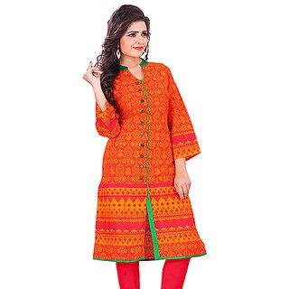 Cotton Orange Color Ethnic Wear Designer Kurti