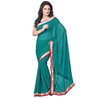 RockChin Fashions Green Semi Chiffon Border Work Saree