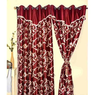 Z Decor Polyester Set of 2 Door Curtain(7 feet)
