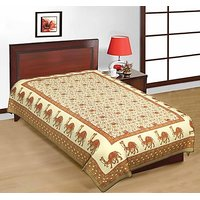 Shop Rajasthan Pure Cotton Sanganeri Print Single Bed Sheet (SRB2249)