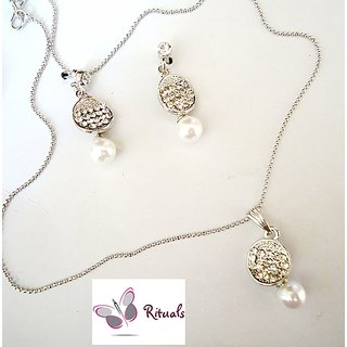RITUALS DESIGNER  CZ AND PEARL PENDANT WITH SET