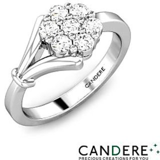 Candere Diamond Ring In White Gold Design-32