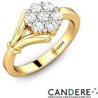 Candere Diamond Ring In Yellow Gold Design-32
